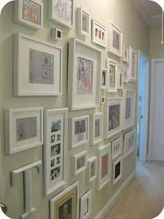 Collage Photo Frames Wall | doDecals like white frames, white mat on colored (especially) wall