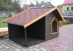 Discover recipes, home ideas, style inspiration and other ideas to try. Custom Dog Houses, Cool Dog Houses, Amazing Dog Houses, Winter Dog House, Films Western, Dog House Plans, Dog Spaces, Dog Yard, Puppy House