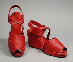 1940s, America - Pair of Woman's Sandals - Leather red wedge open toe shoes heels pumps