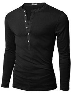 Doublju Mens Henley T-shirts with Long Sleeve BLACK (US-L) Doublju http://www.amazon.com/dp/B004E08MKW/ref=cm_sw_r_pi_dp_k.FRub070J79Y          Price: $18.99  & FREE Shipping on orders over $35. FREE Returns. Details