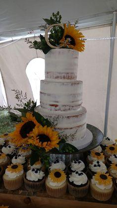 Sunflower naked wedding cake!