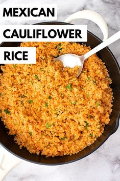 This Mexican Cauliflower Rice is the perfect way to get your veggies with dinner! This easy vegan recipe can be made with frozen cauliflower rice in a skillet in just 10 minutes! Low carb and paleo this Mexican Cauliflower Rice is perfect side di Healthy Rice Recipes, Rice Recipes For Dinner, Vegan Recipes Easy, Mexican Food Recipes, Low Carb Recipes, Vegetarian Recipes, Cooking Recipes, Paleo Rice, Healthy Mexican Rice