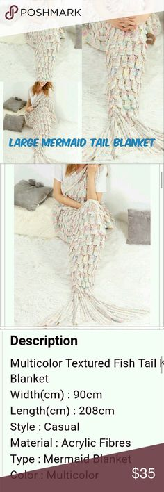 LAST ONE, LARGE MERMAID TAIL BLANKET Adorable LARGE mermaid tail blanket! Perfect for any age!!! LAST ONE!!! W: 90cm L: 208cm Other