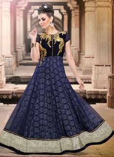 Outstanding blue net and micro velvet zari work anarkali suit with embroidery, resham, lace and patch border work.   Maximum Bust Size - 42 Inches.