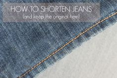 Learn how to shorten jeans with this quick and easy tutorial that shows how to keep the original distressed hem. The alteration is practically invisible!