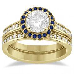 Halo Diamond & Blue Sapphire Bridal Ring Set 14k Yellow Gold (0.83ct) - Allurez.com