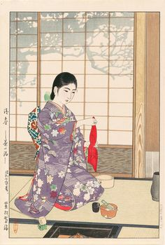 Kasamatsu Shirou 笠松紫浪 (1898-1991) Zanshun Chanoyu 残春 茶の湯 (Late spring - Tea ceremony) - 1932