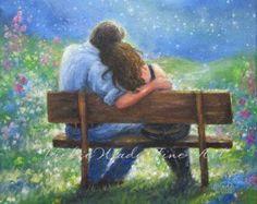 Loving Couple Art Print lovers in moonlight hugging married love ...