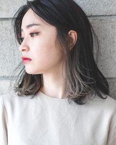 Kpop Short Hair, Short Hair Bun, Hair Color Streaks, Hair Highlights, Medium Hair Styles, Short Hair Styles, Hair Color Underneath, Soft Grunge Hair, Ulzzang Hair