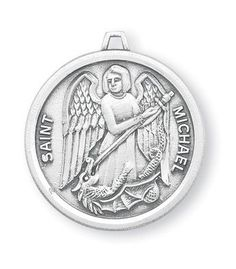 Womens Sterling Silver Round St Michael Pendant  18 Inch Stainless Steel Chain -- Click image for more details.