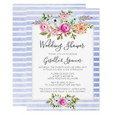 Modern Floral Watercolor Wedding Shower Invitation - modern gifts cyo gift ideas personalize