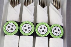 Items similar to Soccer Party - Napkin Rings - Silverware Wraps - Soccer Party Decorations in Green & Black on Etsy Soccer Birthday Parties, Soccer Party, Sports Party, Birthday Party Themes, 2nd Birthday, Soccer Decor, Soccer Theme, Sport Theme, Soccer Banquet