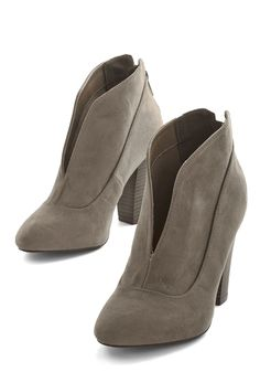 Let's Get Strolling Bootie in Taupe. Hop out of bed and into these greyish-taupe-hued booties with fashionable enthusiasm! #tan #modcloth