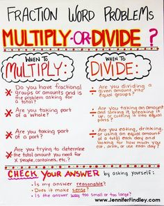 Word Problems Multiplying and Dividing Fractions Word Problems Anchor Chart.grab a printable version for free on this postMultiplying and Dividing Fractions Word Problems Anchor Chart.grab a printable version for free on this post Math Charts, Math Anchor Charts, Division Anchor Chart, Fraction Word Problems, Math Word Problems, Math Tutor, Teaching Math, Math Education, Math Fractions