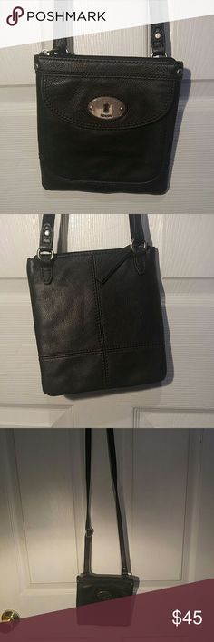 Fossil cross body bag Black leather Fossil Bags