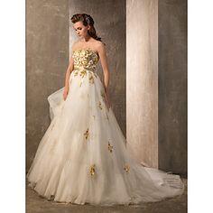 A-line/Princess Strapless Andar de comprimento Tulle e vestido de casamento de cetim – BRL R$ 1.298,47
