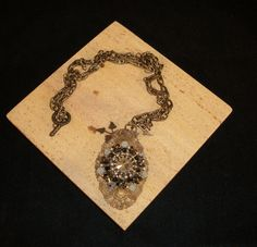 PRICE REDUCTIONBrass necklace with swarovski  by Violetspassions, $70.00