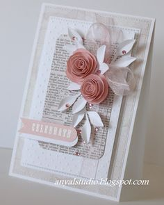 My creative corner: More cards...gorgeous handmade card with ribbon, rolled paper roses