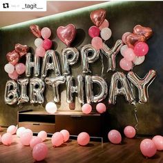 Silver happy birthday decoration with pink balloon bouquet birth .- Silver happy birthday decoration with pink balloon bouquet Birthday party supplies Silver happy birthday decoration with pink balloon bouquet Birthday party supplies Happy Birthday Letter Balloons, Happy Birthday Balloons, Happy Birthday Decor, Happy 25th Birthday, Happy Birthday Bouquet, Birthday Morning Surprise, Party Banner, Pink Balloons, Round Balloons