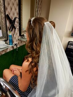 Wedding hair  Long hair Veil Tiara Curls Veil Hairstyles, Wedding Hairstyles, Tweed Waistcoat, Moss Bros, Countryside Wedding, Summer Wedding, Curls, Long Hair Styles, Wedding Dresses