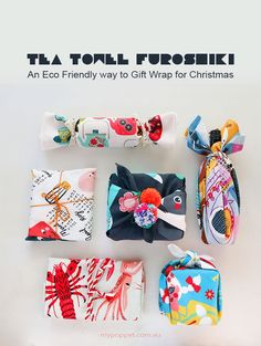 Tea Towel Furoshiki – An Eco Friendly way to Gift Wrap for Christmas | Lots of furoshiki ideas, including instructions for hemming your towels | My Poppet