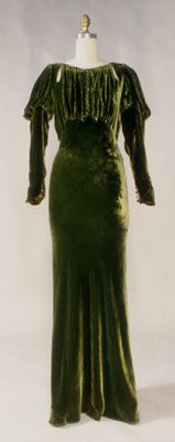 1930s Green Silk Velvet Bias Cut Dress