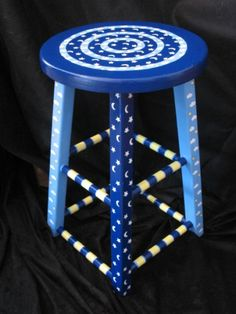 Blue and white hand painted stool