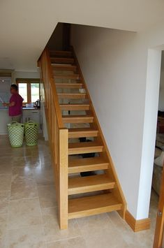 open staircase ideas stairs stair treads oak tread for the home plan images carpet s Redo Stairs, Open Stairs, House Stairs, Rustic Staircase, Staircase Design, Staircase Ideas, Timber Stair, Stair Treads, Small Modern House Plans