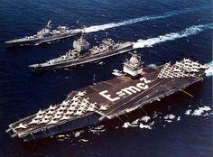 USS Enterprise (CVN-65) USS Long Beach (CGN-9) and USS Bainbridge (CGN-25) in 1964.