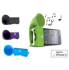 iPhone 4/S Q Horn  Onze Q-horn iPhone speaker is de nieuwste versterker voor de iPhone! Naast speaker heeft de Q-horn de functie van standaard.