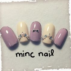 Lavender and Antique White nails with floral accents #nailart