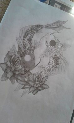 Yin Yang Koi Fish tattoo design drawn by- Claire Winke Shaded version, may re-draw and do it in color with my watercolor magic will keep you up to date . Coy Fish Tattoos, Yin Yang Tattoos, Pisces Tattoos, Small Tattoos, Tatoos, Ship Tattoos, Ankle Tattoos, Arrow Tattoos, Tattoo Small