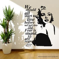 Marilyn Monroe Quote Regret Wall Decal Stickers Decor Easy Removable Sticker  #TheBananaAstronaut #Modern