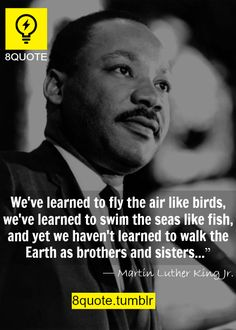 We've learned to fly the air like birds, we've learned to swim the seas like fish, and yet, we have'nt learned to walk the Earth as brothers and sisters.