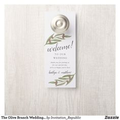 Shop The Olive Branch Wedding Collection Door Hanger created by Invitation_Republic. Wedding Welcome Bags, Wedding Thank You, Our Wedding, Italian Wedding Themes, Olive Branch Wedding, Wedding Wine Labels, Custom Wine Labels, Door Hangers, Paper Texture