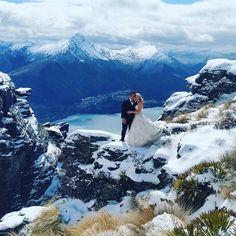 """Nothing like a Spring wedding in Queenstown for a wonderful couple in fresh powder #destinationweddings #heliweddings"