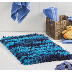 Crochet Put this Modern Shag Rug in your bathroom for a fun ocean feel. This crochet rug pattern is free
