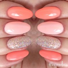 "4 Likes, 1 Comments - Rebecca (@bexnailbox) on Instagram: ""Gel Nails... Bluesky Polishes in 'California Coral' and PN06 Magpie Glitter 'Amelia' #blueskynails…"""