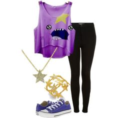 Lumpy Space Princess From Adventure Time by smilelikeyoucan on Polyvore featuring Topshop, Converse, Bar III and Sugar Bean Jewelry