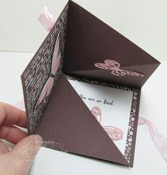 Penni gave me a card with the cutest, quickest little card fold EVER and I couldn't wait to share it with you! I love this card because it fits in an ordinary envelope, doesn't waste paper, and still packs a big punch. Here is it when it is opened: The only tricky part is when you fold it shut, make sure the butterflies or whatever you use for embellishments on the inside of the card are lying flat so they don't get crumpled. Wouldn't you just LOVE to get that in the mail?!! I...