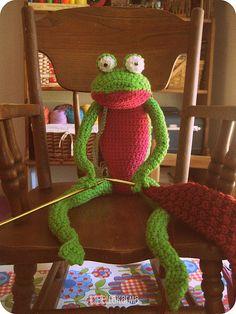 A frog knitting vs. frogging your knitting.  #crochet #frog #knitting