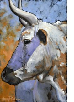 AstroSpirit / Taurus ♉ / Earth / The Bull / Taureau / Amy Collins Cow Art, Horse Art, Cow Painting, Animal Paintings, Art Techniques, Pet Portraits, Farm Animals, Pet Birds, Watercolor Paintings