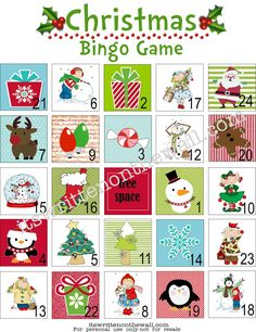 TAre the kids bored? Print off this Free Christmas Bingo Game-Play with M's or Hershey Kisses-Fun for all! Christmas Bingo Game, Neighbor Christmas Gifts, Christmas Love, Winter Christmas, Christmas Ideas, Bingo Holiday, Xmas, Neighbor Gifts, Winter Fun