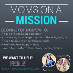 After losing 39 pounds over the past 2 years, I've really learned a lot.  I want to help you learn how to take care of yourself while also providing yummy, healthy meals for your family.  Moms on a Mission is a FREE group for anybody who fits the requirements!