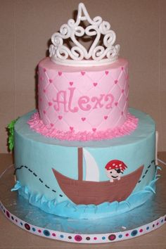 For a princess and pirate birthday party.  BC icing and fondant accents.  Thanks for looking.