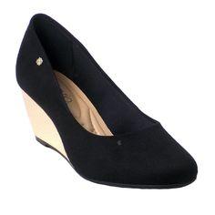 Sapato Beira Rio Feminino Detalhe Salto Anabela Dourado Camurça Flex Preto  APasso a Passo Onlinetraz para você novidades em sapatos, para você manter a elegância em qua