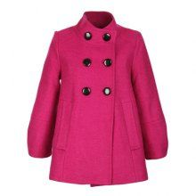 Elegant Style Stand Collar Double Breasted 3/4 Sleeve Wool Worsted Women's Short Coat