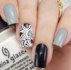 white, black, and grey nail art