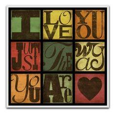Billy Joel Typography Art Lyric Print - I Love You Just The Way You Are---8X8 SINGLE PRINT. $18.00, via Etsy.