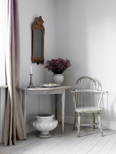 pretty french decor: simplicity, distressed finish shabby chic, muted colour scheme